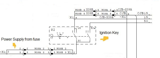 Electric circuit for Ignition Key in Heavy Machinery.