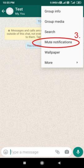 Mute notification in WhatsApp