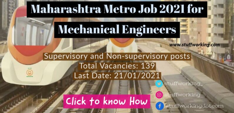 Maharashtra Metro Job 2021 for Mechanical Engineers