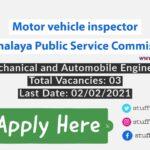 Motor vehicle inspector job