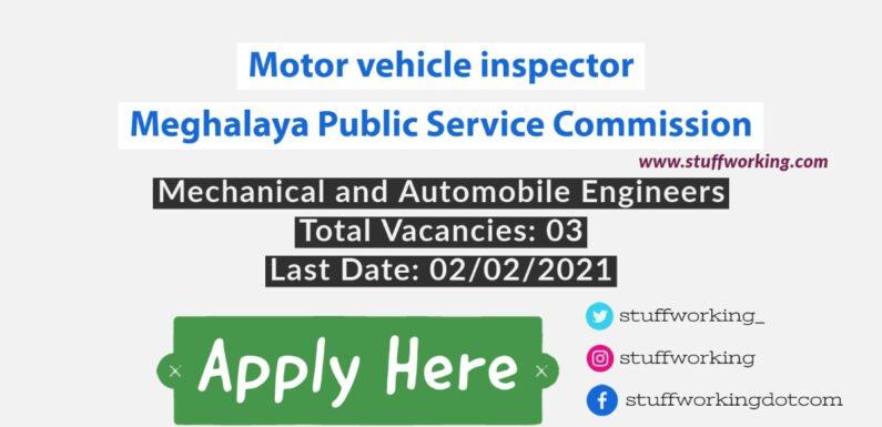 Motor vehicle inspector Job for Mechanical Engineer